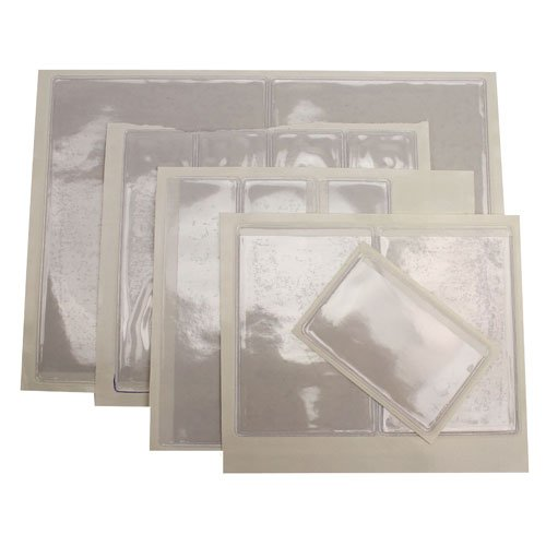"4"" x 6"" Crystal Clear Adhesive Vinyl Pockets-Opens on Long Edge -100pk (STB-1888LSO) Image 1"