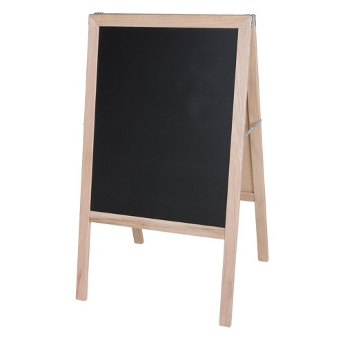 "Crestline 42"" x 24"" Two-Sided Black Chalkboard Signage Easel w/ Natural Wood Frame (CL-31222) Image 1"