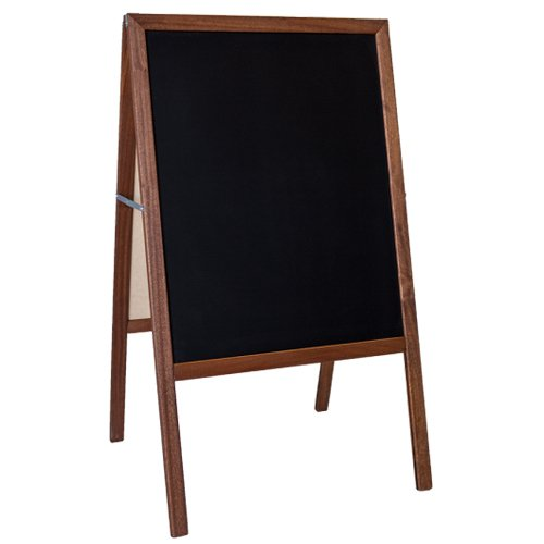 "Crestline 42"" x 24"" Two-Sided Black Chalkboard Signage Easel w/Stained Wood Frame (CL-31221) Image 1"