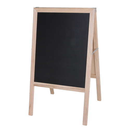 """Crestline 42"""" x 24"""" White Dry Erase/Black Chalkboard Signage Easel w/ Natural Wood Frame (CL-31200) Image 1"""