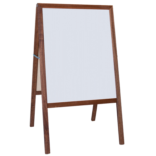 "Crestline 42"" x 24"" White Dry Erase/Black Chalkboard Signage Easel w/ Stained Wood Frame (CL-31210) Image 1"