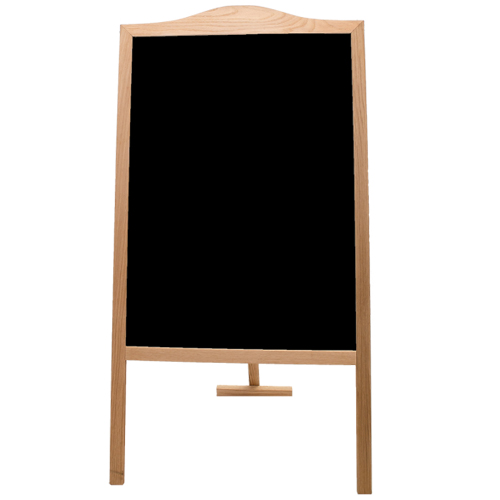 "Crestline 48"" x 25"" Black Chalkboard Classic Sidewalk Display Signage Easel w/ Natural Wood Frame (CL-31100)"