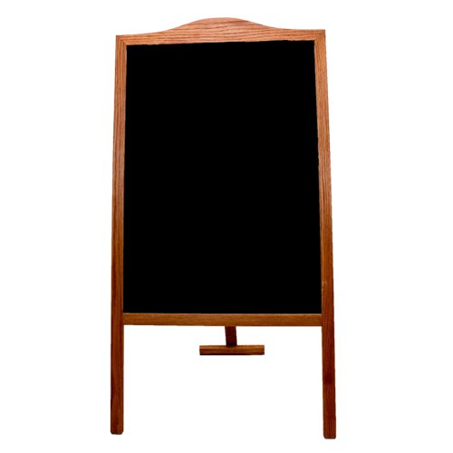 "Crestline 48"" x 25"" Black Chalkboard Classic Sidewalk Display Signage Easel w/ Stained Wood Frame (CL-31110)"