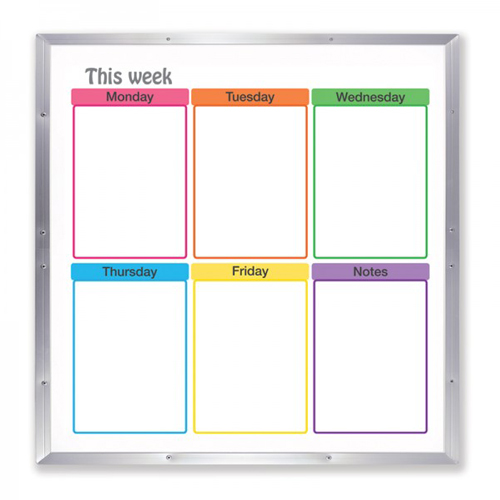 "Frameworks 48"" x 48"" Weekdays Schedule Dry-Erase Board with Aluminum Frame (FW-90100) Image 1"