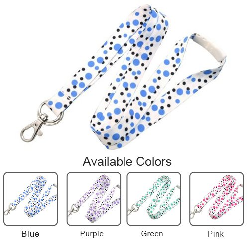 "5/8"" Polka Dot Lanyards with Trigger Hook and Split Ring - 10pk (58PDLTHSR), Id Supplies Image 1"
