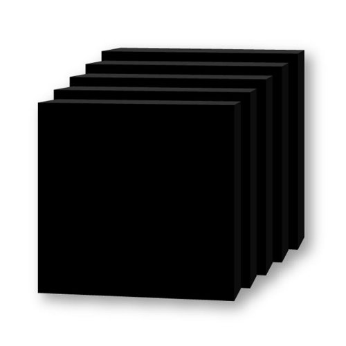 "Flipside 5"" x 5"" Total Black 3/16"" Thick Foam Board Square Sheets - 48pk (FS-20486) Image 1"