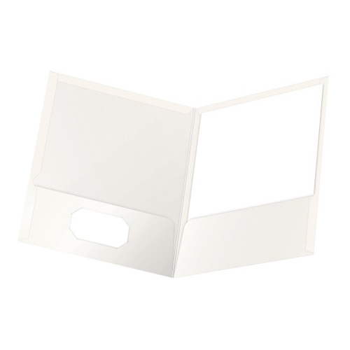 Oxford ShowFolio White Laminated Letter-Size Two-Pocket Folders - 25pk (ESS-51704) Image 1