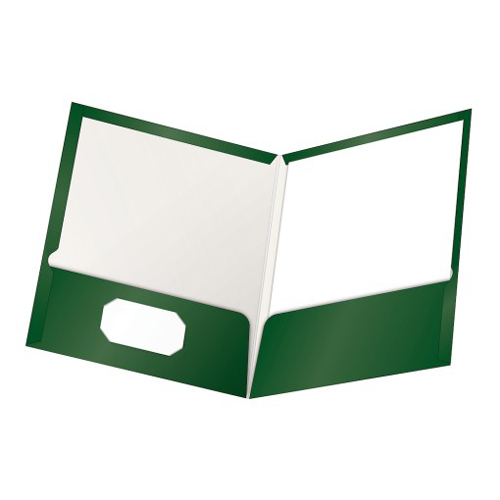 Oxford ShowFolio Green Laminated Letter-Size Two-Pocket Folders - 25pk (ESS-51717) Image 1