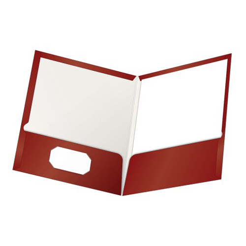 Oxford ShowFolio Crimson Laminated Letter-Size Two-Pocket Folders - 25pk (ESS-51718) - $39.24 Image 1