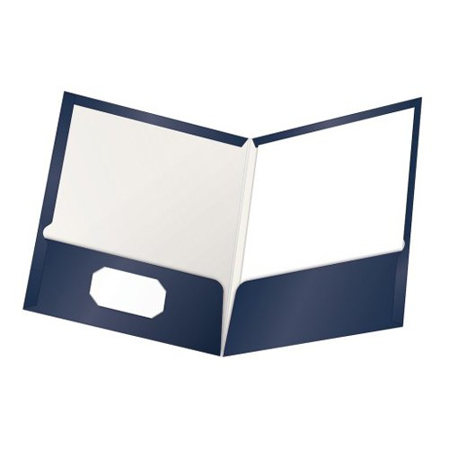 Oxford ShowFolio Navy Laminated Letter-Size Two-Pocket Folders - 25pk (ESS-51743) Image 1