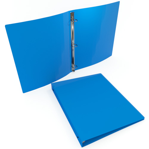 "1"" Colonial Blue 55 Gauge 11"" x 8.5"" Poly Round Ring Binders - 100pk (MYPBCBLU55100) Image 1"