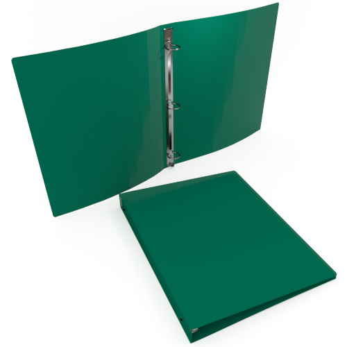 "1"" Green 55 Gauge 11"" x 8.5"" Poly Round Ring Binders - 100pk (MYPBGRN55100) Image 1"