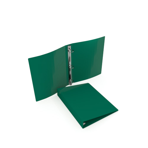 "1-1/2"" Green 55 Gauge 5.5"" x 8.5"" Poly Round Ring Binders - 100pk (MYPBGRN55112H) Image 1"