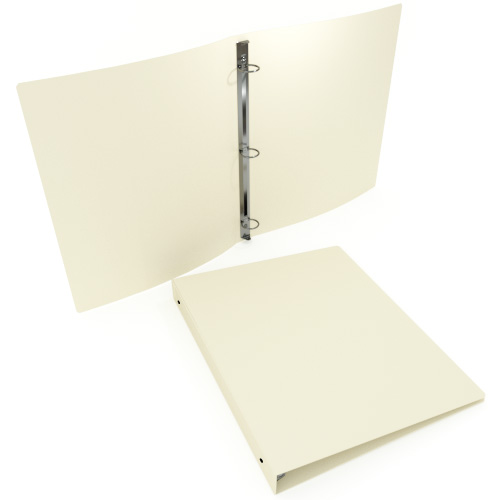 "1-1/2"" Ivory 55 Gauge 11"" x 8.5"" Poly Round Ring Binders - 100pk (MYPBIVY55112) - $317.99 Image 1"