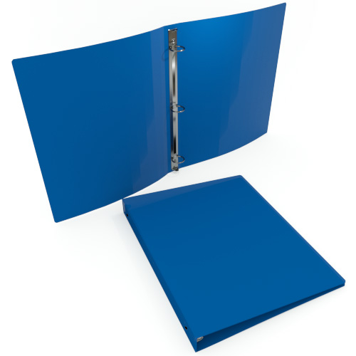 "1"" Royal Blue 55 Gauge 11"" x 8.5"" Poly Round Ring Binders - 100pk (MYPBRBLU55100) Image 1"