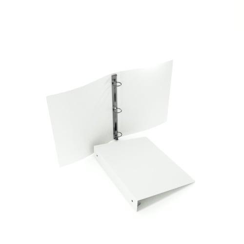 "1-1/2"" White 55 Gauge 5.5"" x 8.5"" Poly Round Ring Binders - 100pk (MYPBWHT55112H) - $281.99 Image 1"