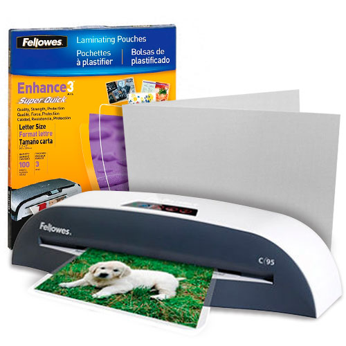 Fellowes C95 Economy Pouch Laminator Starter Kit with Pouches and Carrier (5720901-K) Image 1