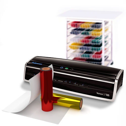 Fellowes Venus Economy Foil Laminator Starter Kit with 2 Foil Colors and Pouch Carrier (5734801-K)