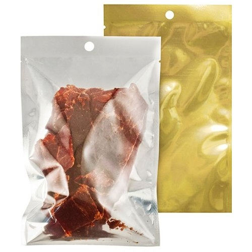 "SealerSales 7"" x 12"" 5mil Clear/3mil Metallized Gold Zipper Vacuum Bags w/ Hang Hole - 1000pk (VBZP15-0712-1000) Image 1"