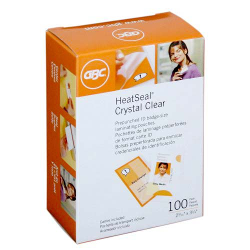 GBC 5mil HeatSeal Crystal Clear Badge Size Pouches w/ Slot 100pk (3200424) Image 1