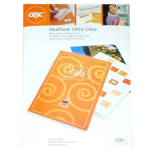 GBC 5mil HeatSeal Ultra Clear Menu Size Laminating Pouches 100pk (3200418) Image 1