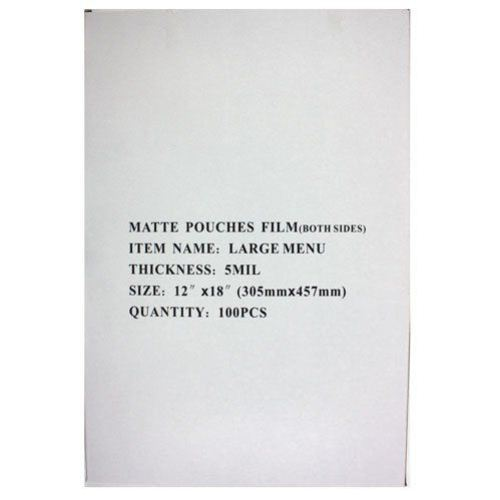 Matte Large Menu Laminating Pouches Image 1