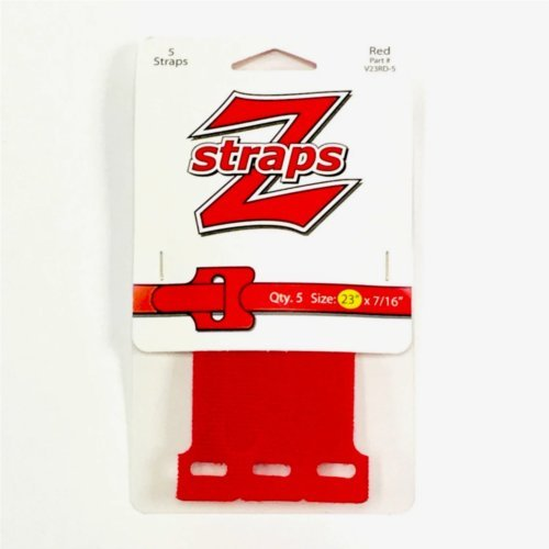 "Z-Straps Red 7/16"" x 23"" Hook & Loop Vinyl Roll Straps - 5/Pack (ZS5RED) Image 1"