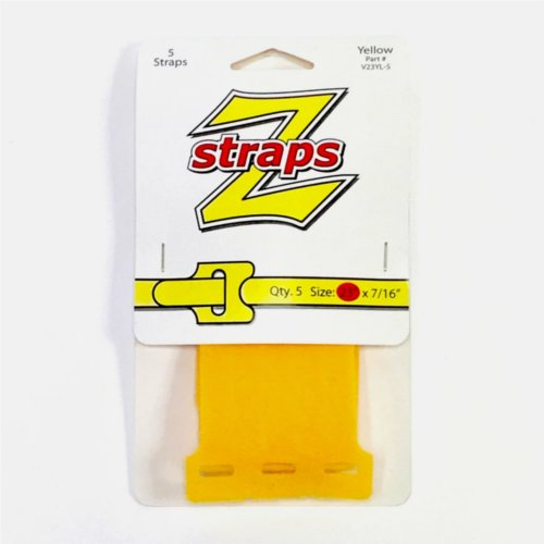 "Z-Straps Yellow 7/16"" x 23"" Hook & Loop Vinyl Roll Straps - 5/Pack (ZS5YLW) Image 1"