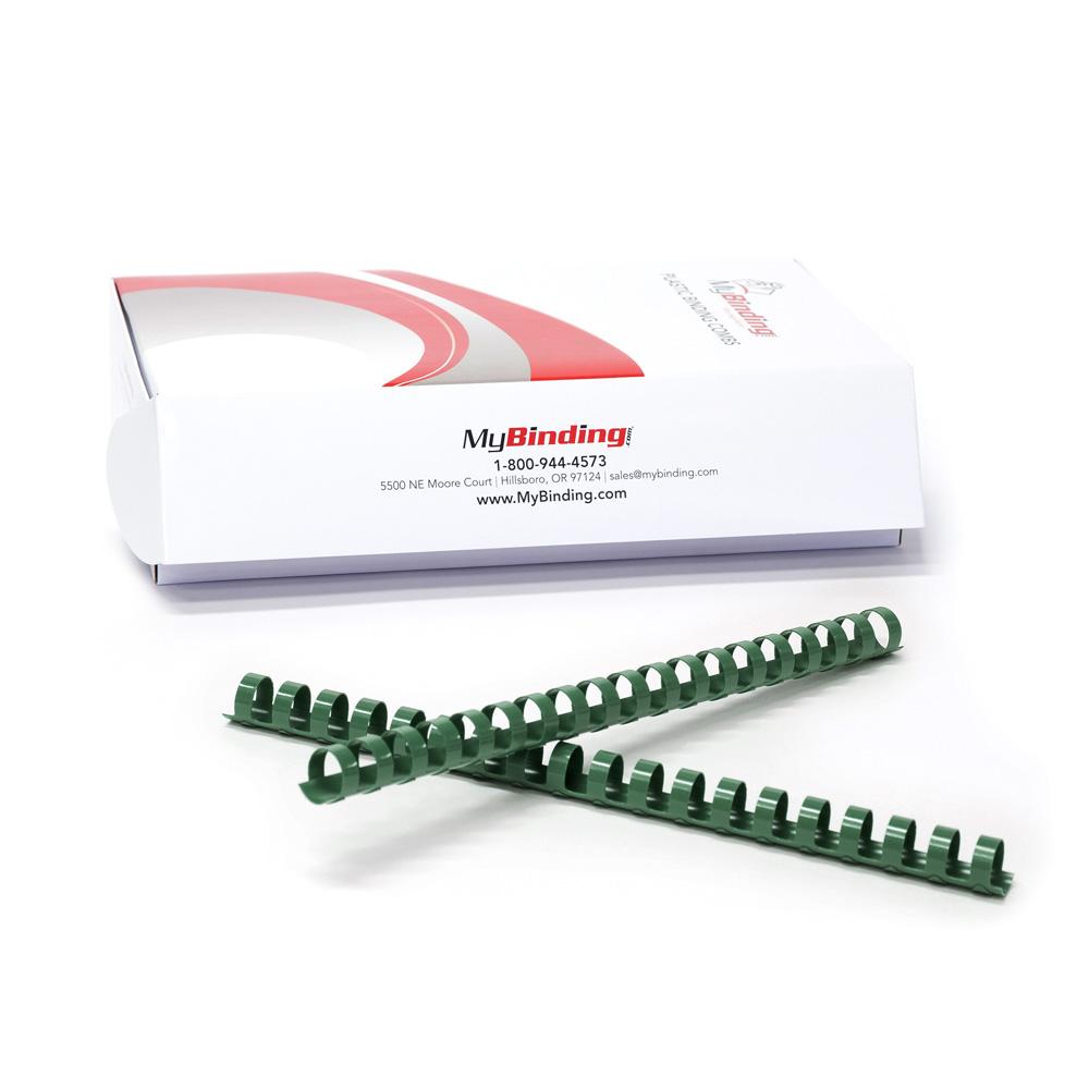 "7/8"" Hunter Green Plastic Binding Combs - 100pk (PC780FG) Image 1"