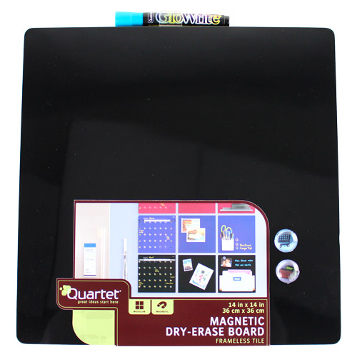 "Quartet 14"" x 14"" Black Magnetic Dry-Erase Frameless Board (79351) Image 1"