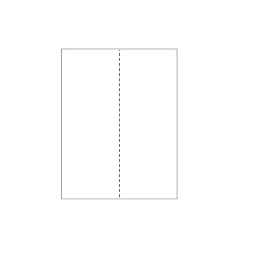 "Zapco 8.5"" x 11"" Cardstock Single Vertical Perforated in 2 Equal Parts - 250 Sheets (ZAPBF616-67VB)"