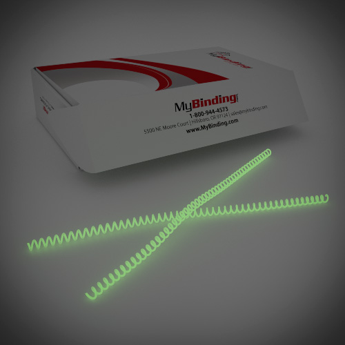 8mm Glow in the Dark 4:1 Pitch Spiral Binding Coil - 100pk (P4GID0812), MyBinding brand Image 1