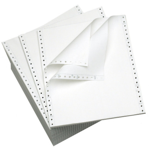 "Performance Office Papers 9 1/2"" x 11"" 15lb Blank White/White Carbonless Continuous Computer Paper - 3400/Case (2 Ply) (DT1851) Image 1"