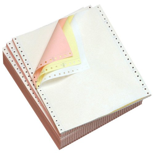 "Performance Office Papers 9 1/2"" x 11"" 15lb Blank White/Canary/Pink Carbonless Continuous Computer Paper - 3600/Case (3 Ply) (DT91193) Image 1"