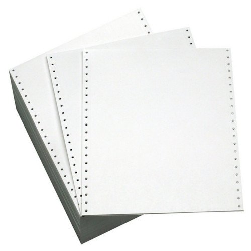 "Performance Office Papers 9 1/2"" x 11"" 18lb Blank Regular Perf Continuous Computer Paper - 3000/Case (1 Ply) (DT9702) Image 1"