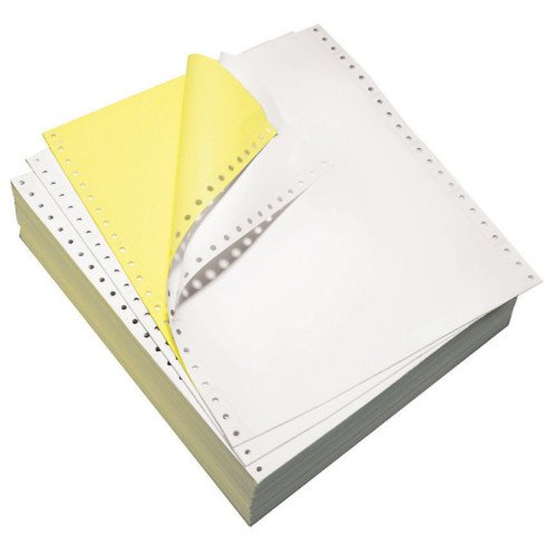 "Performance Office Papers 9 1/2"" x 5 1/2"" 15lb Blank White/Canary Carbonless Continuous Computer Paper - 6400/Case (2 Ply) (DT91195) Image 1"