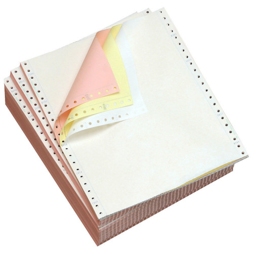 "Performance Office Papers 9 1/2"" x 5 1/2"" 15lb Blank White/Canary/Pink Carbonless Continuous Computer Paper - 6300/Case (3 Ply) (DT81203) Image 1"