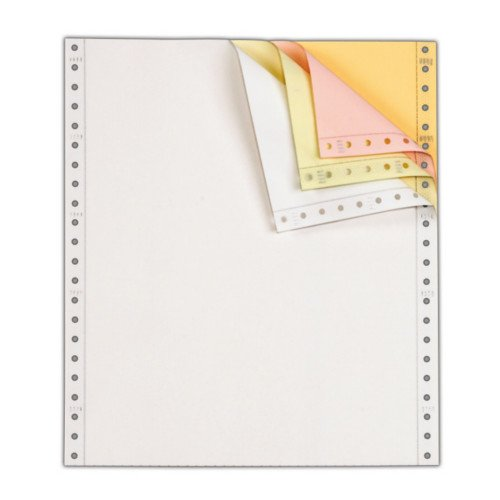 "Performance Office Papers 9 1/2"" x 5 1/2"" 15lb Blank White/Canary/Pink/Gold Carbonless Continuous Computer Paper - 6400/Case (4 Ply) (DT9722) Image 1"