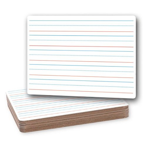 "Flipside 9"" x 12"" Red and Blue Lined/Plain Two-Sided Dry-Erase Lap Boards - 12pk (FS-10134) Image 1"