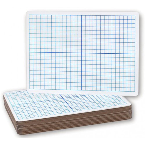 "Flipside 9"" x 12"" XY Axis Grid/Plain Two-Sided Dry Erase Lap Boards - 12pk (FS-11200)"