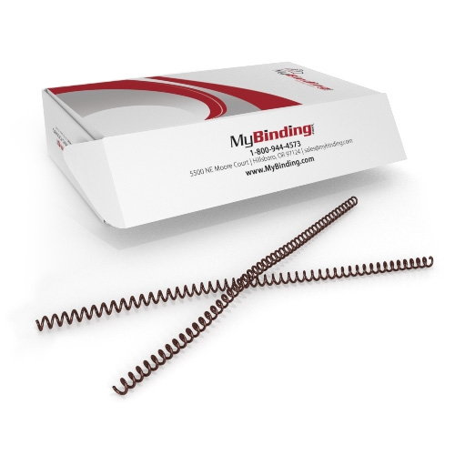 9mm Medium Brown 4:1 Pitch Spiral Binding Coil - 100pk (P4MB0912) - $28.09 Image 1