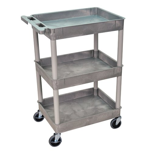 Luxor 3-Shelf Gray Tub Utility Cart (STC111-G) Image 1