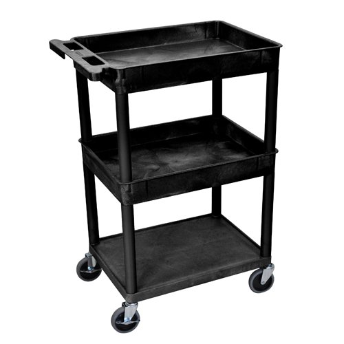 Luxor Black Top/Middle Tub and Bottom Flat Shelf Utility Cart (STC112-B) Image 1