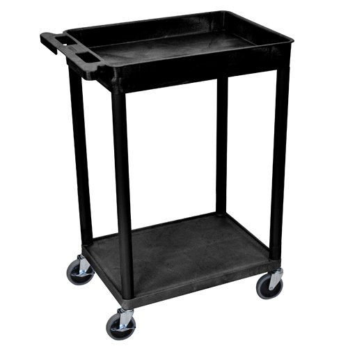 Luxor Black Top Tub and Bottom Flat Shelf Utility Cart (STC12-B) Image 1