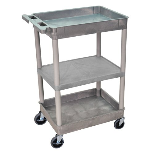 Luxor Gray Top/Bottom Tub and Middle Flat Shelf Utility Cart (STC121-G) - $95.12 Image 1