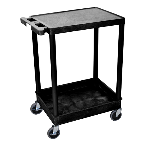 Luxor Black Top Flat and Bottom Tub Shelf Utility Cart (STC21-B) Image 1