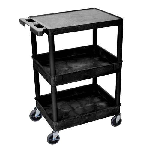 Luxor Black Top Flat and Middle/Bottom Tub Shelf Utility Cart (STC211-B) Image 1