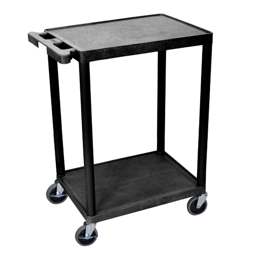 "Luxor 24"" x 18"" Black 2-Flat Shelf Utility Cart (STC22-B) Image 1"