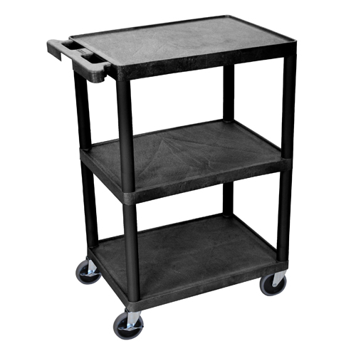 Luxor 3-Shelf Black Flat Utility Cart (STC222-B) Image 1