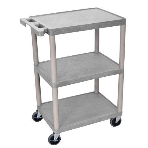 Luxor 3-Shelf Gray Flat Utility Cart (STC222-G) Image 1